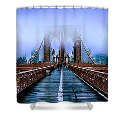 Fog Over The Brooklyn Shower Curtain by Az Jackson