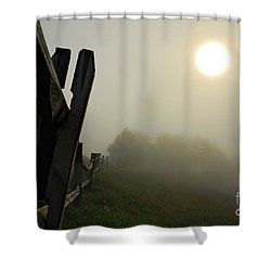 Foggy Country Road Shower Curtain by Lois Bryan