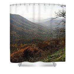 Foggy Fall Morning Shower Curtain by Lynn Bauer