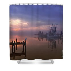 Foggy Sunset Over Swansboro Shower Curtain by Benanne Stiens