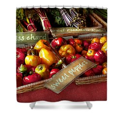 Food - Vegetables - Sweet Peppers For Sale Shower Curtain by Mike Savad
