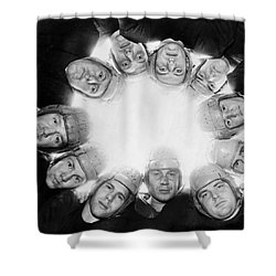 Football Team Huddle Shower Curtain by Underwood Archives