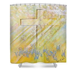 For The Cross Shower Curtain by Cassie Sears