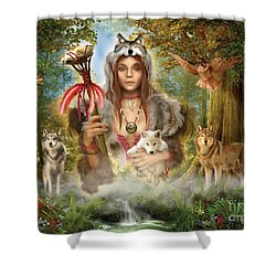 Forest Wolves Shower Curtain by Ciro Marchetti