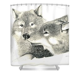 Forever Wolf Love-the Greeting Shower Curtain by Joette Snyder