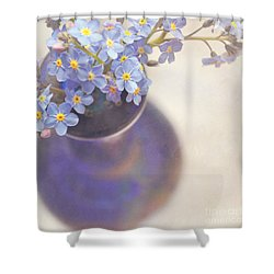 Forget Me Nots In Blue Vase Shower Curtain by Lyn Randle