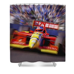 Formula Racing Car At Speed Shower Curtain by Don Hammond