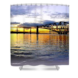 Forth Rail Bridge At Sunset Shower Curtain by The Creative Minds Art and Photography