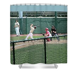 Foul Ball 3 Panel Composite Shower Curtain by Thomas Woolworth