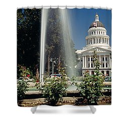 Fountain In A Garden In Front Shower Curtain by Panoramic Images