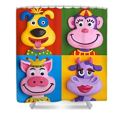 Four Animal Faces Shower Curtain by Amy Vangsgard