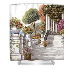 four seasons-summer on lake Como Shower Curtain by Guido Borelli