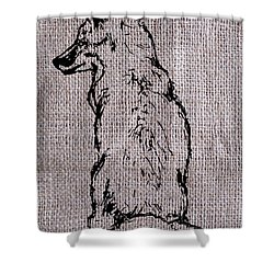 Fox On Burlap  Shower Curtain by Konni Jensen