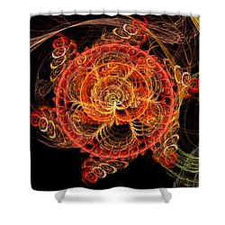 Fractal - Abstract - Mardi Gras Molecule Shower Curtain by Mike Savad