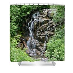Framed Waterfalls On Mount Rainier Shower Curtain by John Haldane