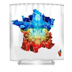 France - European Map By Sharon Cummings Shower Curtain by Sharon Cummings