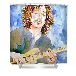 Frank Zappa Playing The Guitar Watercolor Portrait Shower Curtain by Fabrizio Cassetta