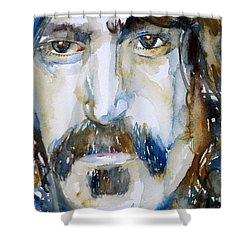 Frank Zappa Watercolor Portrait.2 Shower Curtain by Fabrizio Cassetta