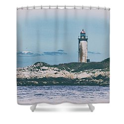Franklin Island Lighthouse Shower Curtain by Karol Livote