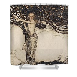 Freia The Fair One Illustration From The Rhinegold And The Valkyrie Shower Curtain by Arthur Rackham