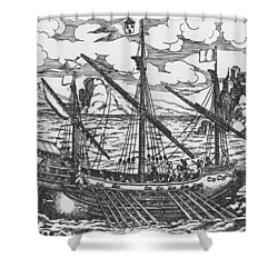 French Galley Operating In The Ports Of The Levant Since Louis Xi  Shower Curtain by French School
