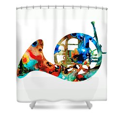 French Horn - Colorful Music By Sharon Cummings Shower Curtain by Sharon Cummings