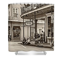 French Quarter - Hangin' Out Sepia Shower Curtain by Steve Harrington