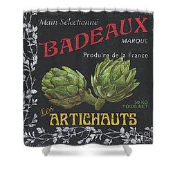 French Veggie Labels 1 Shower Curtain by Debbie DeWitt