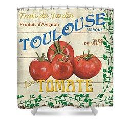 French Veggie Sign 3 Shower Curtain by Debbie DeWitt