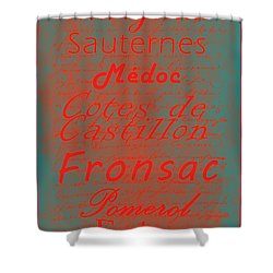 French Wines - 5 Champagne And Bordeaux Region Shower Curtain by Paulette B Wright