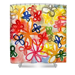 Fresh Flowers Shower Curtain by Linda Woods