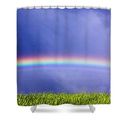 Fresh Grass And Sky With Rainbow Shower Curtain by Michal Bednarek