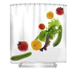 Fresh Vegetables Flying Shower Curtain by Elena Elisseeva