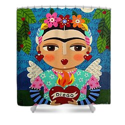 Frida Kahlo Angel And Flaming Heart Shower Curtain by LuLu Mypinkturtle