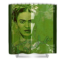 Frida Kahlo - Between Worlds - Green Shower Curtain by Richard Tito