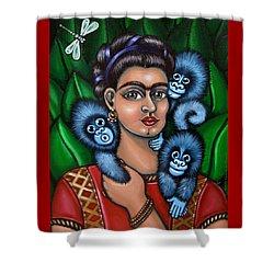 Fridas Triplets Shower Curtain by Victoria De Almeida