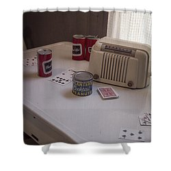 Friday Night Poker Game  Shower Curtain by Edward Fielding