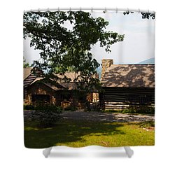 Front View Of The Cabin Shower Curtain by Robert Margetts