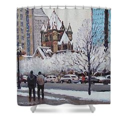 Frosted Trinity Shower Curtain by Dianne Panarelli Miller