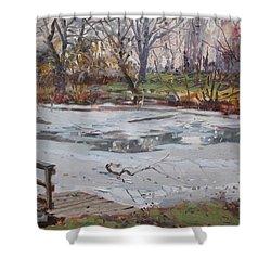 Frozen Pond Shower Curtain by Ylli Haruni
