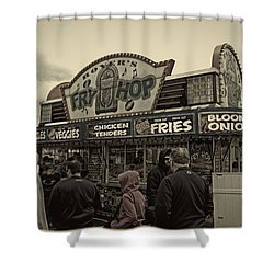 Fry Hop Shower Curtain by Tom Gari Gallery-Three-Photography