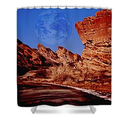 Full Earth Over Red Rocks Shower Curtain by Kellice Swaggerty