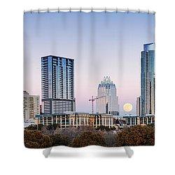 Full Moon Rising Behind Downtown Austin Skyline Texas Shower Curtain by Silvio Ligutti