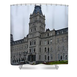Full View Of Quebec's Parliament Building Shower Curtain by Lingfai Leung