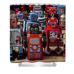 Fun Toy Robots Shower Curtain by Garry Gay