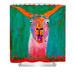 Funky Llama Art Print Shower Curtain by Sue Jacobi