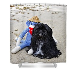 Funky Monkey And Sweet Shih Tzu Shower Curtain by Al Powell Photography USA