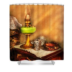 Furniture - Lamp - The Gas Lamp Shower Curtain by Mike Savad