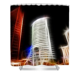 Futuristic Buildings In Berlin Potsdamer Platz Digital Art Shower Curtain by Matthias Hauser