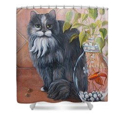 Fuzz And Homer Shower Curtain by Marlene Book